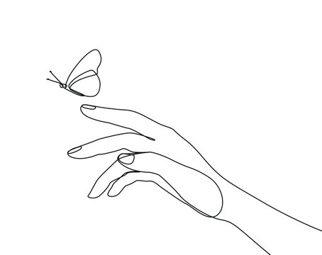 Butterfly flies by hand one line drawing on white isolated background. Vector illustration