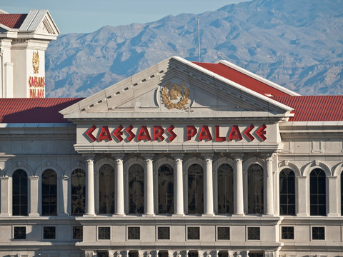 View of Caesars Palace casino resort hotel tower and sign October 7, 2011 in Las Vegas, Nevada, USA.