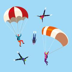 group people skydivers in air