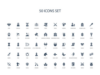 50 filled concept icons such as crown, sword, spellbook, helmet, frog, castle, rainbow,shield, dragon, sword, barrel, shield, enchanted mirror