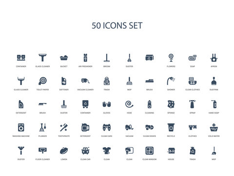 50 filled concept icons such as mop, trash, house, clean window, clean, clean, car,lemon, floor cleaner, duster, cold water, clothes, recycle