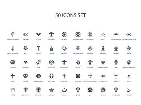 50 filled concept icons such as paganism, catholicism, yin yang, om, cross, islam, judaism,catholicism, catholicism, shinto, shiva, judaism, christianity