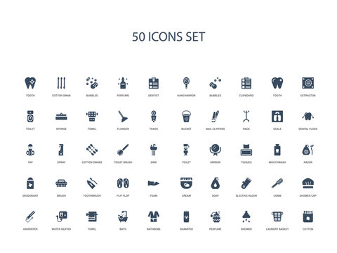 50 filled concept icons such as cotton, laundry basket, shower, perfume, shampoo, bathrobe, bath,towel, water heater, hairdryer, shower cap, comb, electric razor