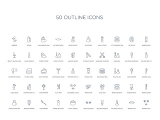 50 outline concept icons such as woman face, woman lips, inclined lipstick, inclined makeup brush, two eyelashes, facial cream, finger with nail,toothbrush, makeup mirror, french perfume, women
