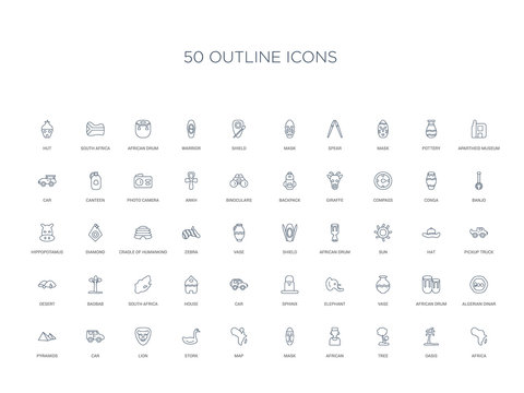 50 outline concept icons such as africa, oasis, tree, african, mask, map, stork,lion, car, pyramids, algerian dinar, african drum, vase