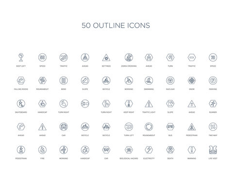 50 outline concept icons such as life vest, warning, death, electricity, biological hazard, car, handicap,working, fire, pedestrian, two way, pedestrian, bus