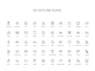 50 outline concept icons such as gallery, cash register, quality, barcode scanner, invoice, coupon, support,piggy bank, piggy bank, wallet, keyboard, cit card, piggy bank