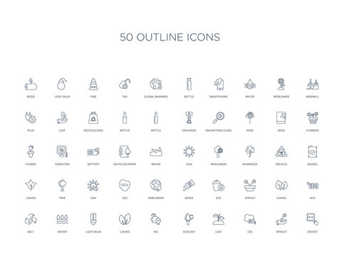 50 outline concept icons such as socket, sprout, co2, leaf, ecology, bio, leaves,light bulb, water, bolt, eco, leaves, sprout