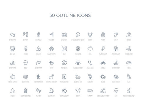 50 outline concept icons such as renewable energy, rain, sustainable factory, battery, energy, sustainability, gas station,flower, electric station, energy, plug, solar globe