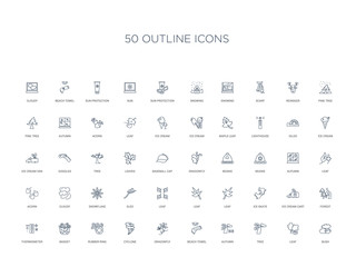 50 outline concept icons such as bush, leaf, tree, autumn, beach towel, dragonfly, cyclone,rubber ring, basket, thermometer, forest, ice cream cart, ice skate