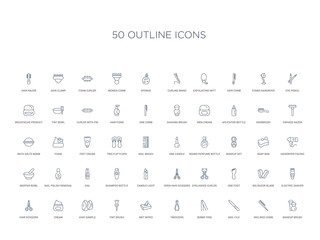 50 outline concept icons such as makeup brush, inclined comb, nail file, bobby pins, tweezers, wet wipes, tint brush,hair sample, cream, hair scissors, electric shaver, big razor blade, one foot