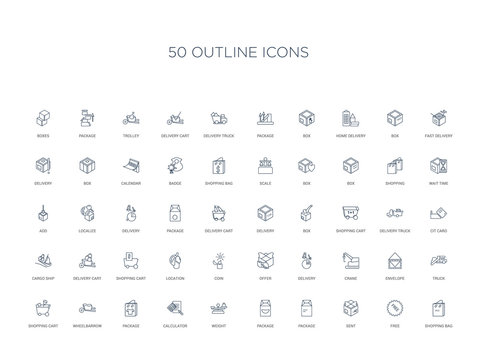 50 outline concept icons such as shopping bag, free, sent, package, package, weight, calculator,package, wheelbarrow, shopping cart, truck, envelope, crane