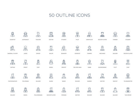 50 outline concept icons such as taxi driver, builder, soldier, soldier, doctor, fireman, soccer player,policewoman, model, soldier, telemarketer, dentist, doctor