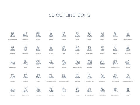 50 outline concept icons such as pilot, businessman, stewardess, office worker, singer, chef, teacher,painter, delivery man, florist, fire extinguisher, electrician, gardener