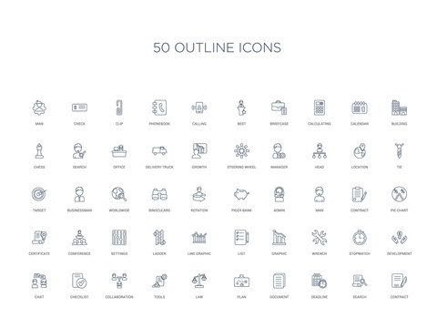 50 outline concept icons such as contract, search, deadline, document, plan, law, tools,collaboration, checklist, chat, development, stopwatch, wrench