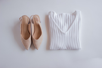 Female scandinavian fashion composition. Top view, flat lay