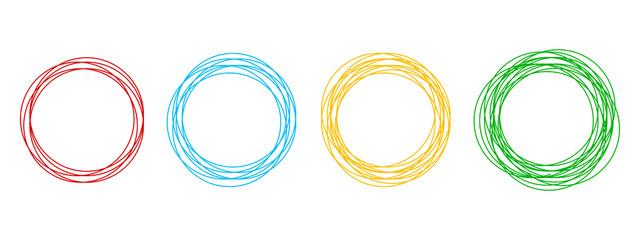 Circular form, set of circles using sketch drawing circle lines, circular logo elements – stock vector