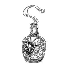 Glass bottle of poison. Sketch. Engraving style. Vector illustration