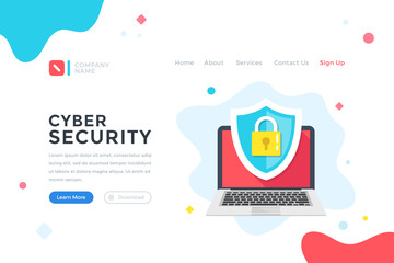 Cyber security. Data protection, cybersecurity concept. Modern flat design graphic elements for web banner, landing page template, website. Vector illustration