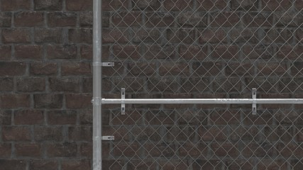 Chain link fence on brick wall 3D Render