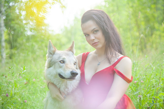 Adult pretty model girl with real mix animal of wolf and dog