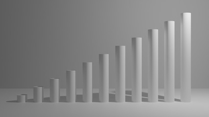 white, blue, red, green 3d graph going up from left to right for use with infograph or chart