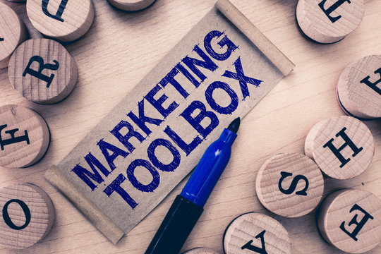 Word writing text Marketing Toolbox. Business concept for Means in promoting a product or services Automation.