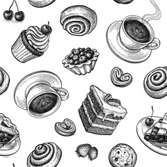 Seamless pattern with sweets and pastries