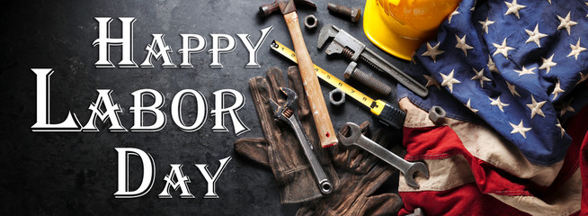 Happy Labor day background with construction and manufacturing tools with patriotic US, USA, American flag background - Happy Labor Day