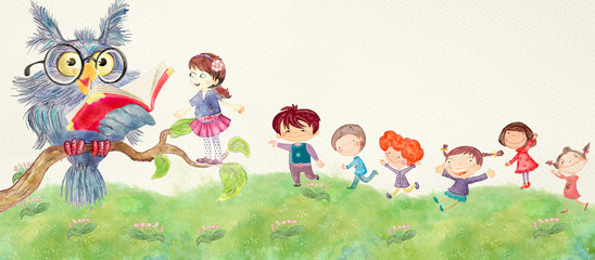 School chldren with owl. Watercolor education banner