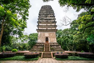 Lingbao pagoda in Leshan Giant Buddha Scenic Park in Leshan China