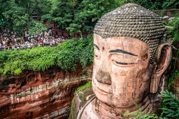 Close-up view of the head of Leshan Giant Buddha in Leshan China