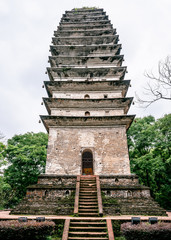 Vertical view of Lingbao pagoda in Leshan Giant Buddha Scenic Park in Leshan China