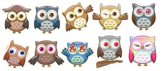 owl vector set graphic clipart design
