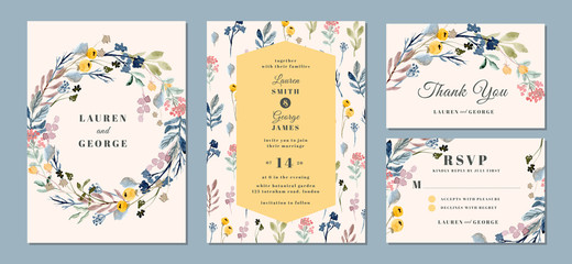 Fototapeta wedding invitation suite with beautiful floral background watercolor
