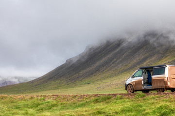 extreme camping in a volkswagen california on iceland
