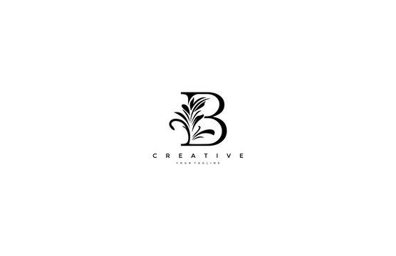 B Letter Linked Floral Baroque Ornament Monogram Logotype
