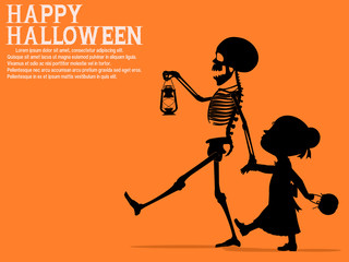 A skeleton is walking with a little girl.