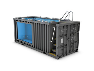 Obraz Converted old shipping container into swimming pool, isolated white 3d Illustration - fototapety do salonu