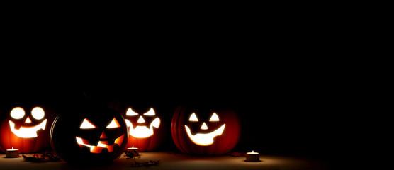 Jack O Lantern in the night Halloween. 3d rendering Fototapete