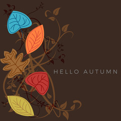 Autumn sale background, layout decorate with leaves of autumn. Poster and frame leaflet or web banner. Vector template.