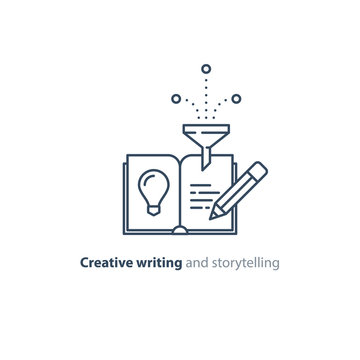 Creative writing, story telling idea, book page and pencil linear icons