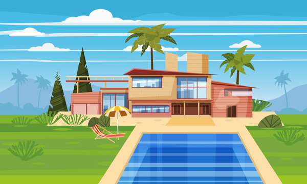 Modern villa on residence in exotic country, expensive mansion in lahdscape tropics