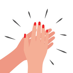 Woman applause for appreciation, flat style. Hands claping, cheer expression. Vector illustration