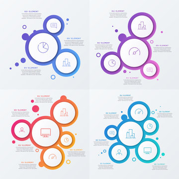 Abstract vector gradient minimalistic infographic template composed of circles