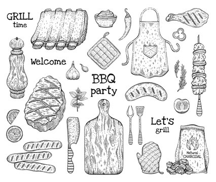 Barbecue sketch set. BBQ graphic line elements. Grilled food beef meat, pork rib, chick kebab, sausage. Summer picinic party icon collection. Cook vector illustration art isolated on white background