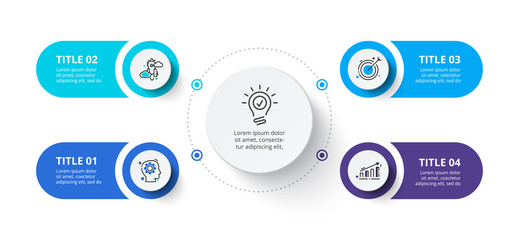 Fototapeta Four circles infographic elements. Business template for presentation. Vector flowchart concept with 4 options or steps. obraz
