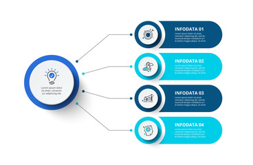 Obraz Four circles infographic elements. Business template for presentation. Vector flowchart concept with 4 options or steps. - fototapety do salonu