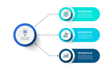 Three circles infographic elements. Business template for presentation. Vector flowchart concept with 3 options or steps. Wall mural