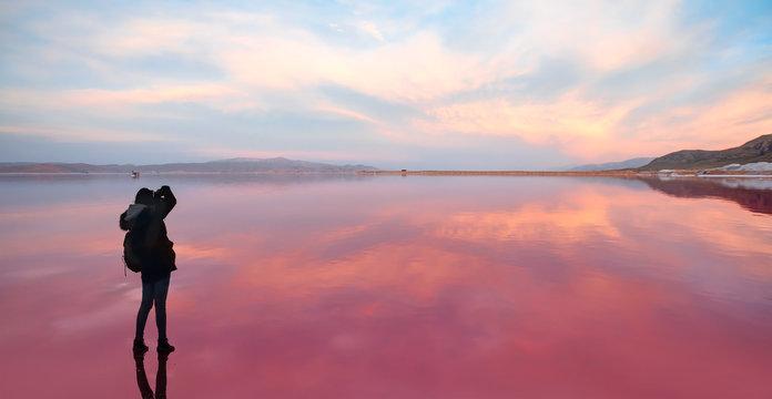 Maharlu pink lake at sunset - Shiraz, Iran
